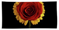 Rose On Yellow Flower Black Background Beach Towel