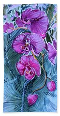 Beach Towel featuring the painting Rose Orchids by Mindy Newman