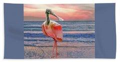 Beach Towel featuring the photograph Roseate Spoonbill At Sundown  by Brian Tarr