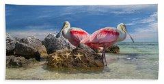 Roseate Spoonbill Florida Keys Beach Towel