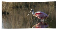 Roseate Spoonbill In Morning Light Beach Sheet