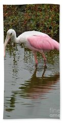 Roseate Spoonbill In Pond Beach Towel