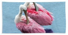 Roseate Spoonbill Pair Beach Sheet