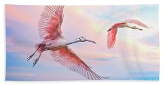 Roseate Spoonbills In Flight. Beach Towel