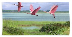 Roseate Spoonbills Of Florida Bay Beach Towel