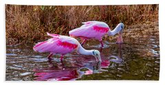 Roseate Spoonbills Swishing For Food Beach Towel