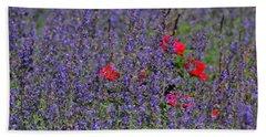 Roses Afloat In A Lavender Sea Beach Towel