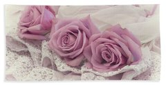 Roses And Beaded Lace Beach Towel by Sandra Foster