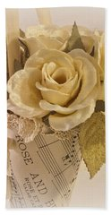 Roses And Butterfly Posy  Beach Sheet