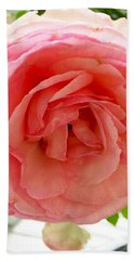 Beach Towel featuring the photograph Roses And Clapboard by Beth Saffer
