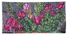 Roses And Eucalyptus In Basket Beach Towel