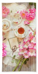 Roses And Gladiolas With Vintage Tea Pot And Cups Beach Sheet