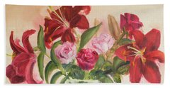 Roses And Lilies Beach Towel