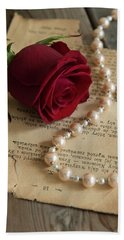 Roses And Pearls Beach Towel