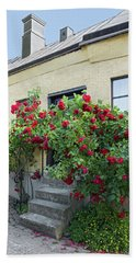 Roses Growing Near The House In A Swedish Town Visby Beach Towel