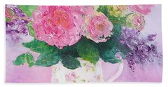 Roses In A Pink Floral Jug Beach Towel by Jan Matson