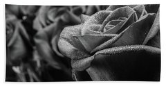 Roses In Black And White Beach Towel