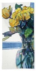 Roses In Vase Still Life I Beach Sheet