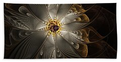 Rosette In Gold And Silver Beach Towel