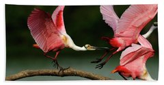 Rosiette Spoonbills Lord Of The Branch Beach Sheet by Bob Christopher