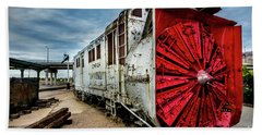 Beach Towel featuring the photograph Rotary Snow Plow Vintage Train - Utah by Gary Whitton