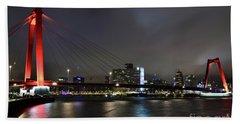 Rotterdam - Willemsbrug At Night Beach Sheet
