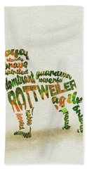 Beach Sheet featuring the painting Rottweiler Dog Watercolor Painting / Typographic Art by Inspirowl Design