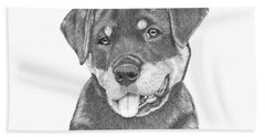 Beach Towel featuring the drawing Rottweiler Puppy- Chloe by Patricia Hiltz