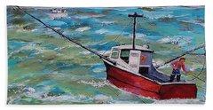 Rough Sea Beach Towel by Mike Caitham