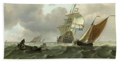 Rough Sea With Ships Beach Sheet