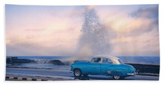 Rough Surf On The Malecon Beach Towel