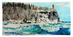 Rough Water At Split Rock Beach Towel