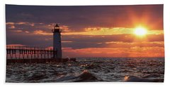Rough Water Sunset Beach Towel