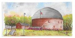 Round Barn In Route 66, Arcadia, Oklahoma Beach Towel