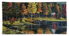 Round Pond Newbury Vermont Plein Air Beach Towel