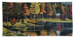 Round Pond Newbury Vermont Plein Air Beach Towel by Nancy Griswold