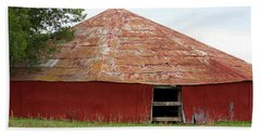 Beach Towel featuring the photograph Round Red Barn by Sheila Brown