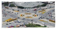 Beach Towel featuring the photograph Roundabout In Warsaw by Chevy Fleet