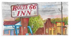 Route 66 Inn In Amarillo, Texas Beach Sheet by Carlos G Groppa