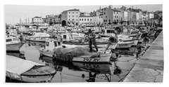 Rovinj Fisherman Working In Old Town Harbor - Rovinj, Istria, Croatia Beach Towel