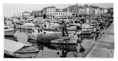 Rovinj Fisherman Working In Old Town Harbor - Rovinj, Istria, Croatia Beach Sheet