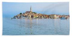 Rovinj In The Early Morning Fog, Istria, Croatia Beach Sheet