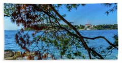 Rovinj Old Town Accross The Adriatic Through The Trees Beach Towel