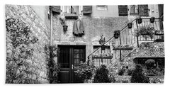 Rovinj Old Town Courtyard In Black And White, Rovinj Croatia Beach Towel