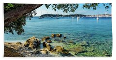 Rovinj Old Town, Harbor And Sailboats Accross The Adriatic Through The Trees Beach Towel