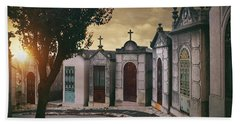 Beach Towel featuring the photograph Row Of Crypts by Carlos Caetano