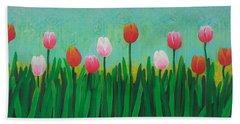 Row Of Tulips Beach Towel