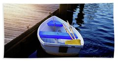 Rowboat At Sunset Beach Towel by Inspirational Photo Creations Audrey Woods