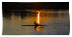 Rowing At Sunset 2 Beach Towel