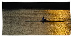 Rowing At Sunset Beach Towel